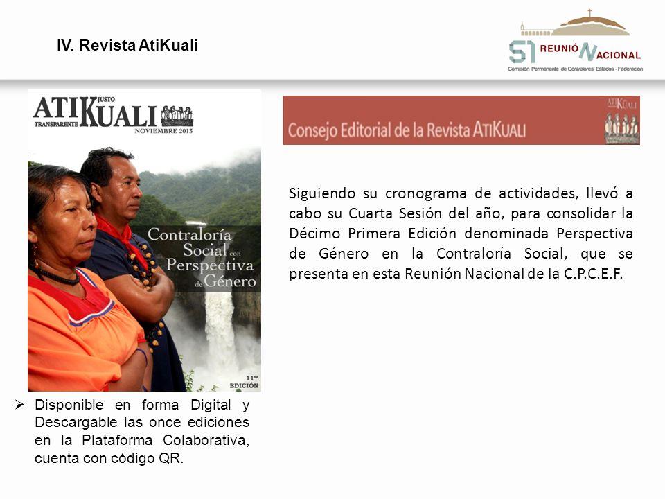 IV. Revista AtiKuali Disponible en forma Digital y Descargable las once ediciones en la Plataforma Colaborativa, cuenta con código QR. Siguiendo su cr