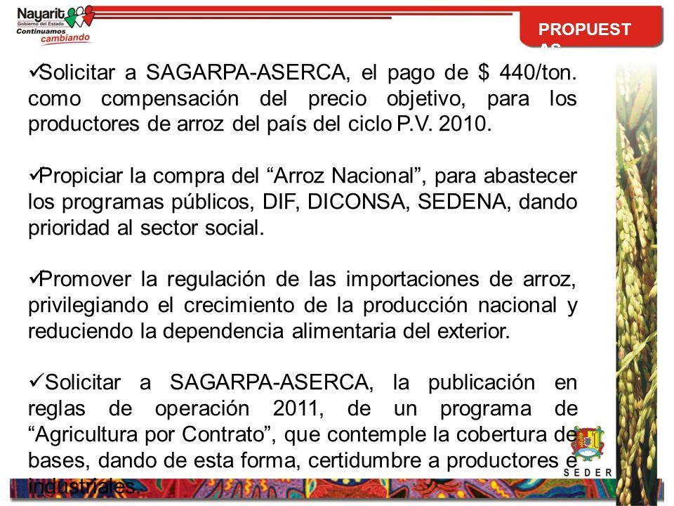 Solicitar a SAGARPA-ASERCA, el pago de $ 440/ton.