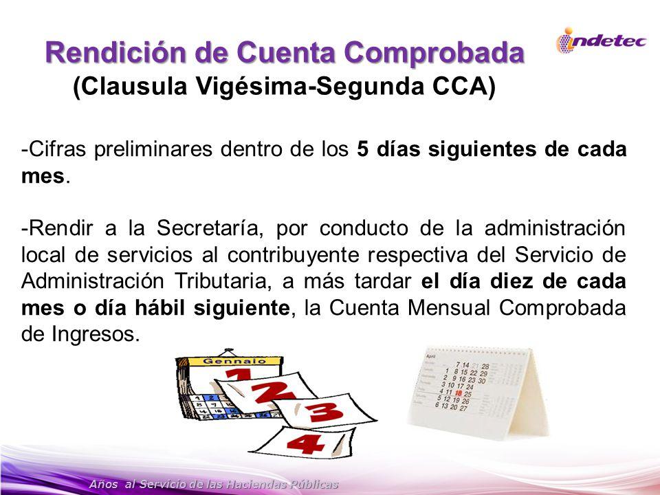 Años al Servicio de las Haciendas Públicas Rendición de Cuenta Comprobada (Clausula Vigésima-Segunda CCA) -Cifras preliminares dentro de los 5 días si