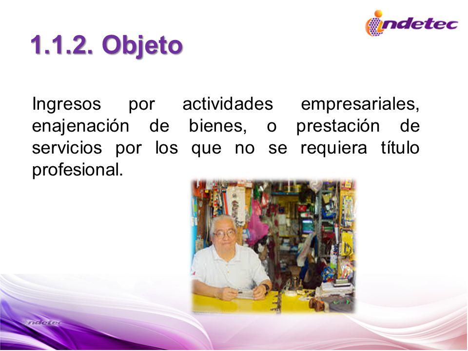 1.1.2. Objeto Ingresos por actividades empresariales, enajenación de bienes, o prestación de servicios por los que no se requiera título profesional.
