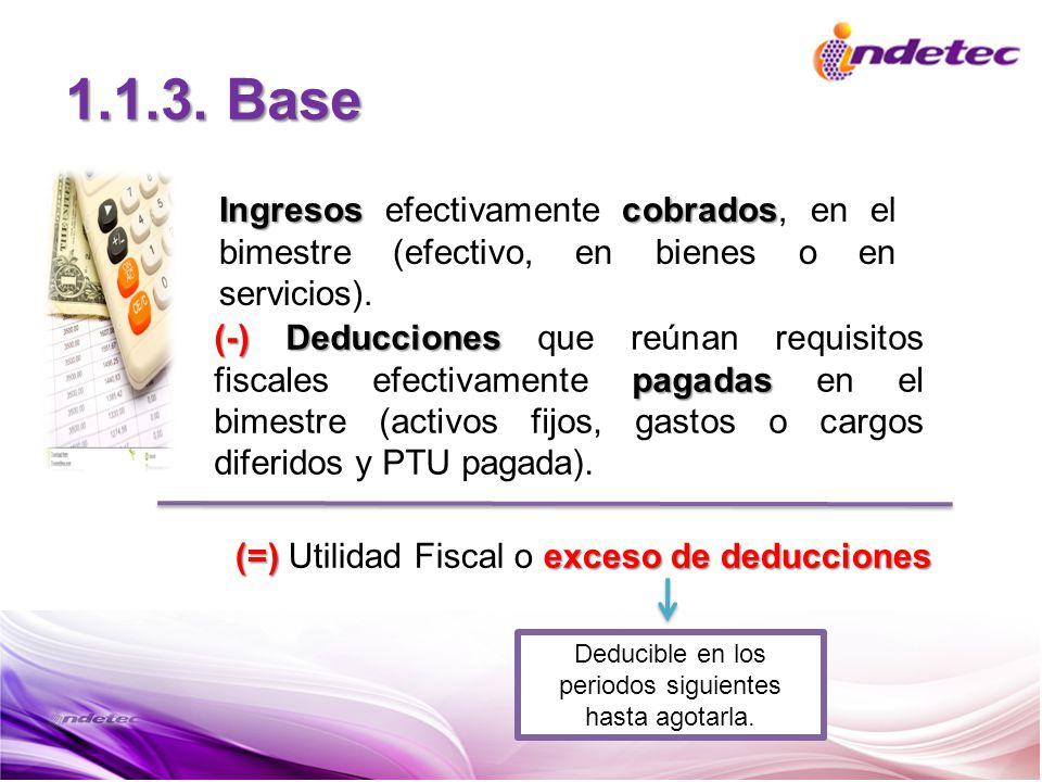 1.1.3. Base Ingresoscobrados Ingresos efectivamente cobrados, en el bimestre (efectivo, en bienes o en servicios). (-)Deducciones pagadas (-) Deduccio