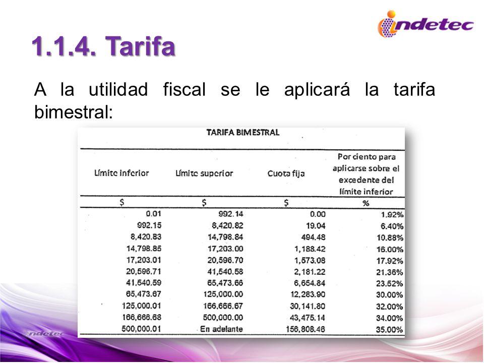 1.1.4. Tarifa A la utilidad fiscal se le aplicará la tarifa bimestral: