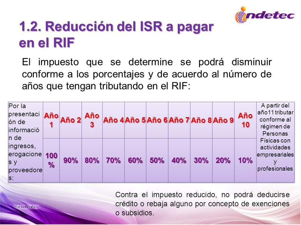 1.2. Reducción del ISR a pagar en el RIF El impuesto que se determine se podrá disminuir conforme a los porcentajes y de acuerdo al número de años que