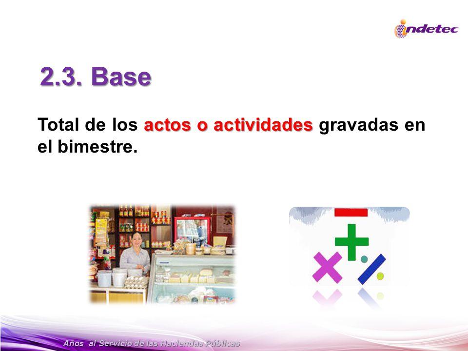 Años al Servicio de las Haciendas Públicas 2.3. Base actos o actividades Total de los actos o actividades gravadas en el bimestre.