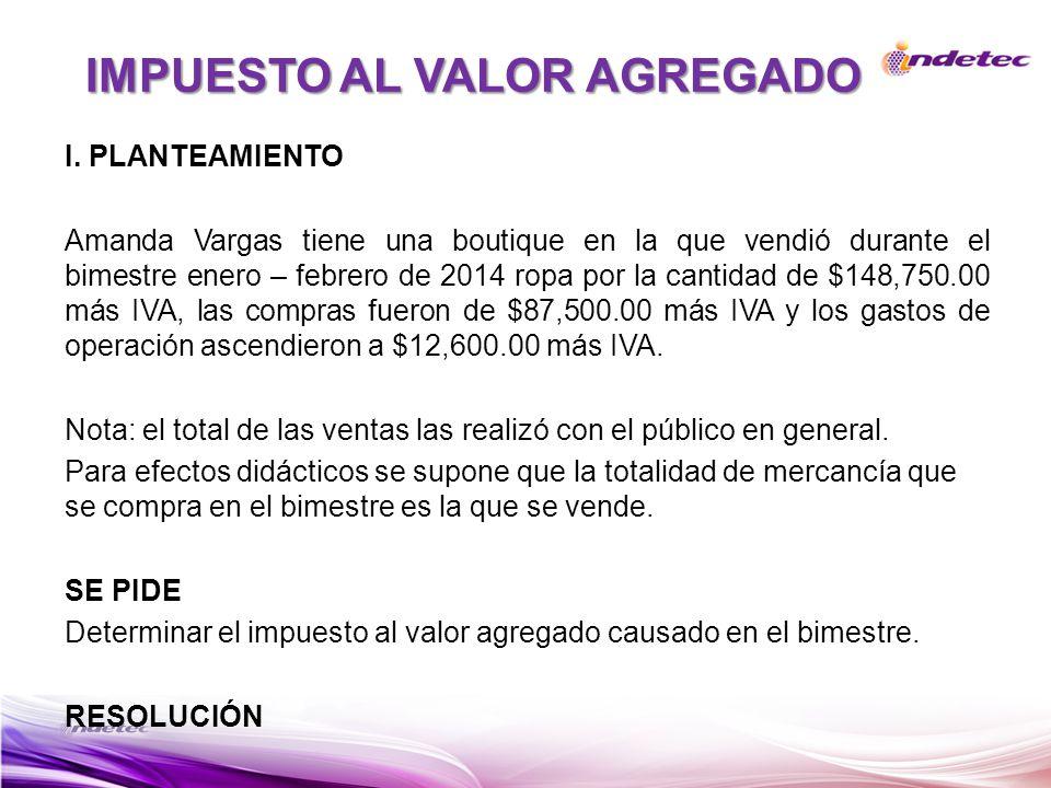 I. PLANTEAMIENTO Amanda Vargas tiene una boutique en la que vendió durante el bimestre enero – febrero de 2014 ropa por la cantidad de $148,750.00 más