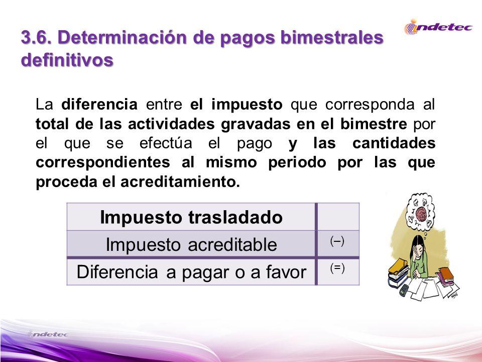 3.6. Determinación de pagos bimestrales definitivos Impuesto trasladado Impuesto acreditable (–) Diferencia a pagar o a favor (=) La diferencia entre