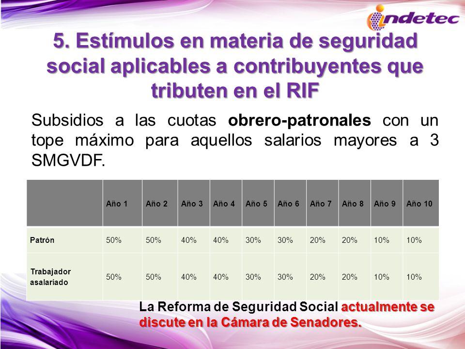 5. Estímulos en materia de seguridad social aplicables a contribuyentes que tributen en el RIF Año 1Año 2Año 3Año 4Año 5Año 6Año 7Año 8Año 9Año 10 Pat