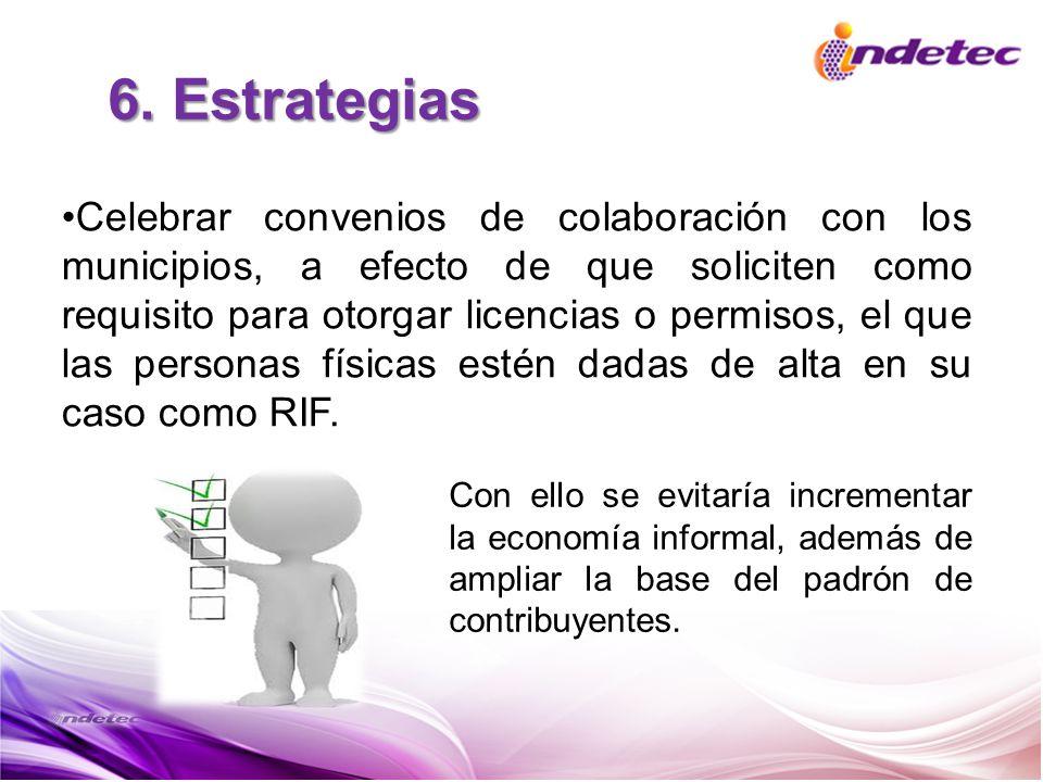 6. Estrategias Celebrar convenios de colaboración con los municipios, a efecto de que soliciten como requisito para otorgar licencias o permisos, el q