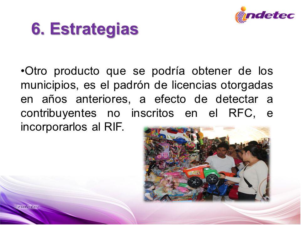 6. Estrategias Otro producto que se podría obtener de los municipios, es el padrón de licencias otorgadas en años anteriores, a efecto de detectar a c