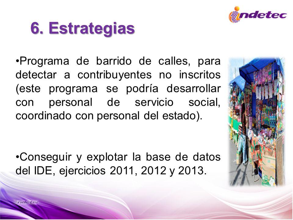 6. Estrategias Programa de barrido de calles, para detectar a contribuyentes no inscritos (este programa se podría desarrollar con personal de servici