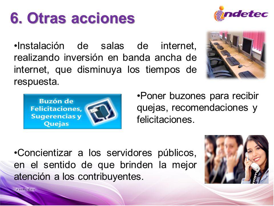 6. Otras acciones Instalación de salas de internet, realizando inversión en banda ancha de internet, que disminuya los tiempos de respuesta. Concienti