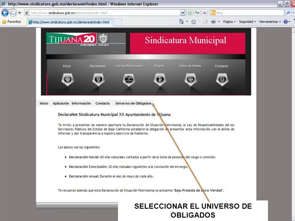 SELECCIONAR EL UNIVERSO DE OBLIGADOS