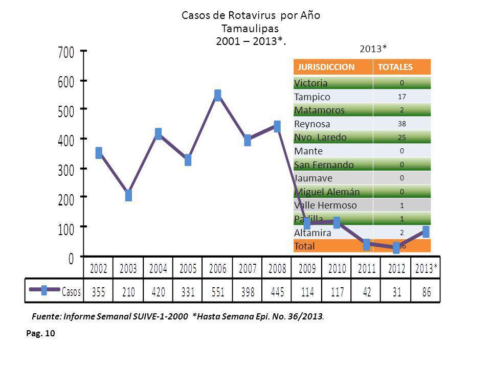 Casos de Rotavirus por Año Tamaulipas 2001 – 2013*.