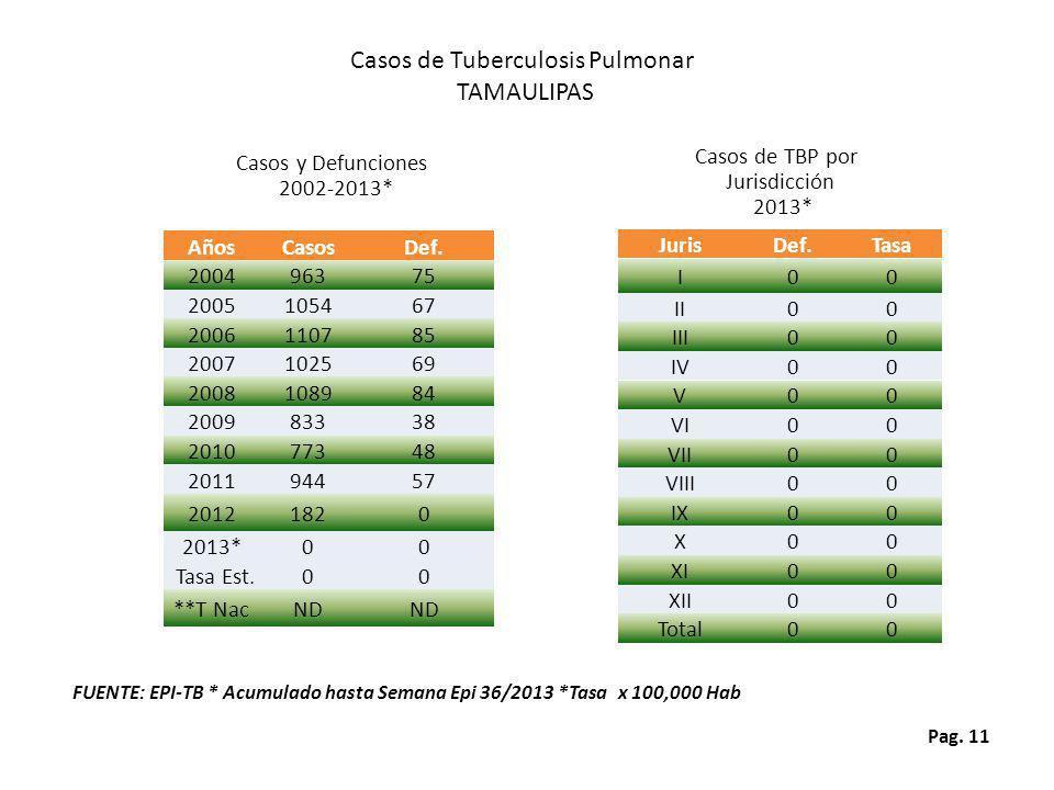 Pag. 11 Casos de TBP por Jurisdicción 2013* Casos de Tuberculosis Pulmonar TAMAULIPAS FUENTE: EPI-TB * Acumulado hasta Semana Epi 36/2013 *Tasa x 100,