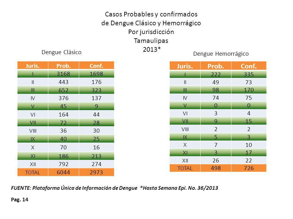 Pag. 14 Dengue Clásico Dengue Hemorrágico FUENTE: Plataforma Única de Información de Dengue *Hasta Semana Epi. No. 36/2013 Juris.Prob.Conf. I 222335 I