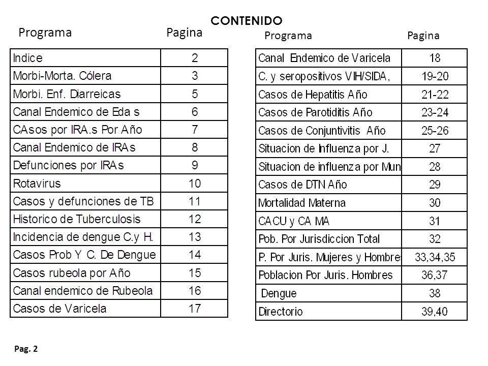 Pag.23 Casos de Parotiditis por Año Tamaulipas 1999 - 2013*.