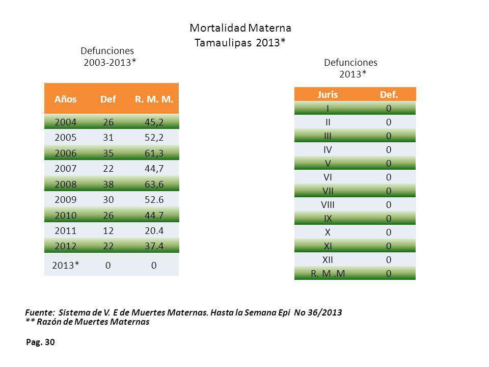 Pag. 30 Defunciones 2013* Mortalidad Materna Tamaulipas 2013* Defunciones 2003-2013* Fuente: Sistema de V. E de Muertes Maternas. Hasta la Semana Epi