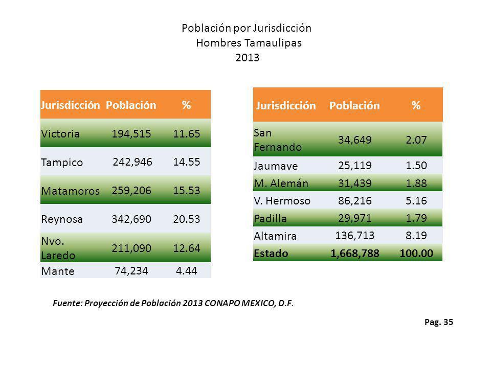 Pag. 35 Población por Jurisdicción Hombres Tamaulipas 2013 Fuente: Proyección de Población 2013 CONAPO MEXICO, D.F. JurisdicciónPoblación% Victoria 19