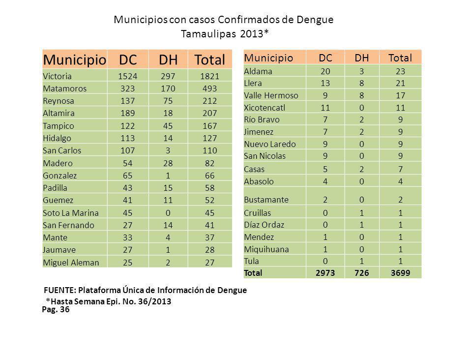 Pag. 36 Municipios con casos Confirmados de Dengue Tamaulipas 2013* FUENTE: Plataforma Única de Información de Dengue *Hasta Semana Epi. No. 36/2013 M
