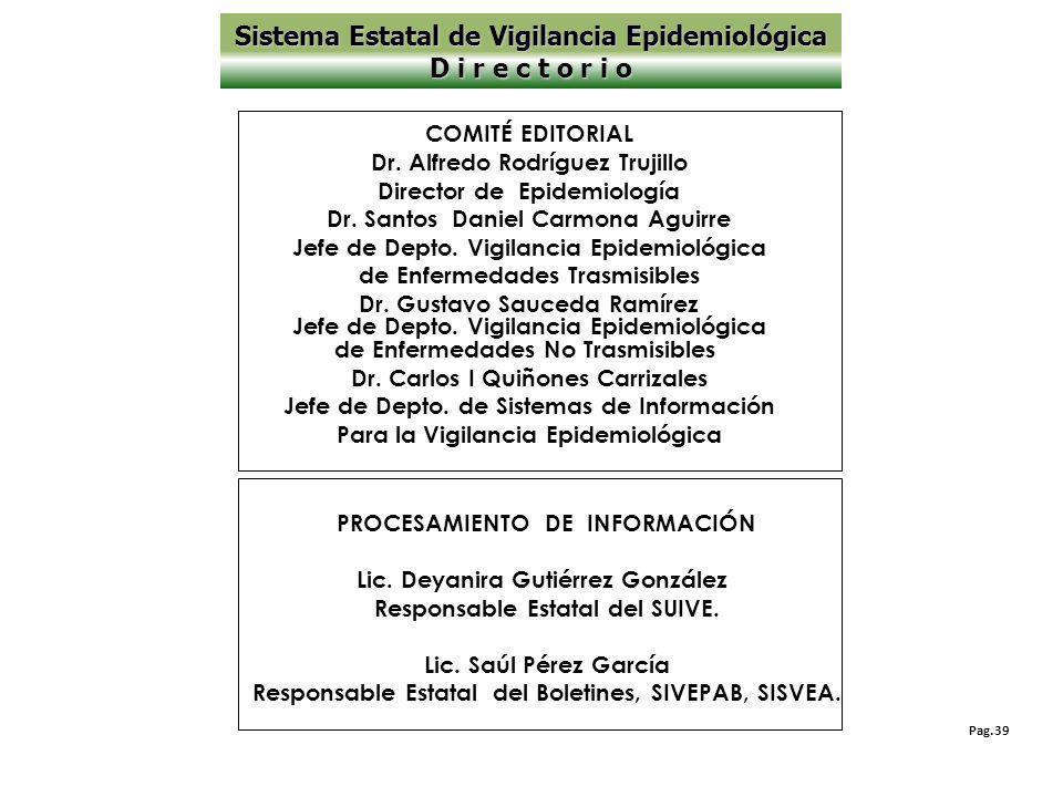 Pag.39 PROCESAMIENTO DE INFORMACIÓN Lic.Deyanira Gutiérrez González Responsable Estatal del SUIVE.
