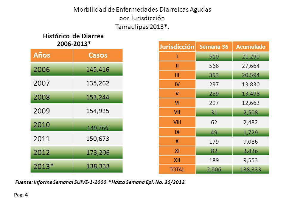 Pag.4 Morbilidad de Enfermedades Diarreicas Agudas por Jurisdicción Tamaulipas 2013*.