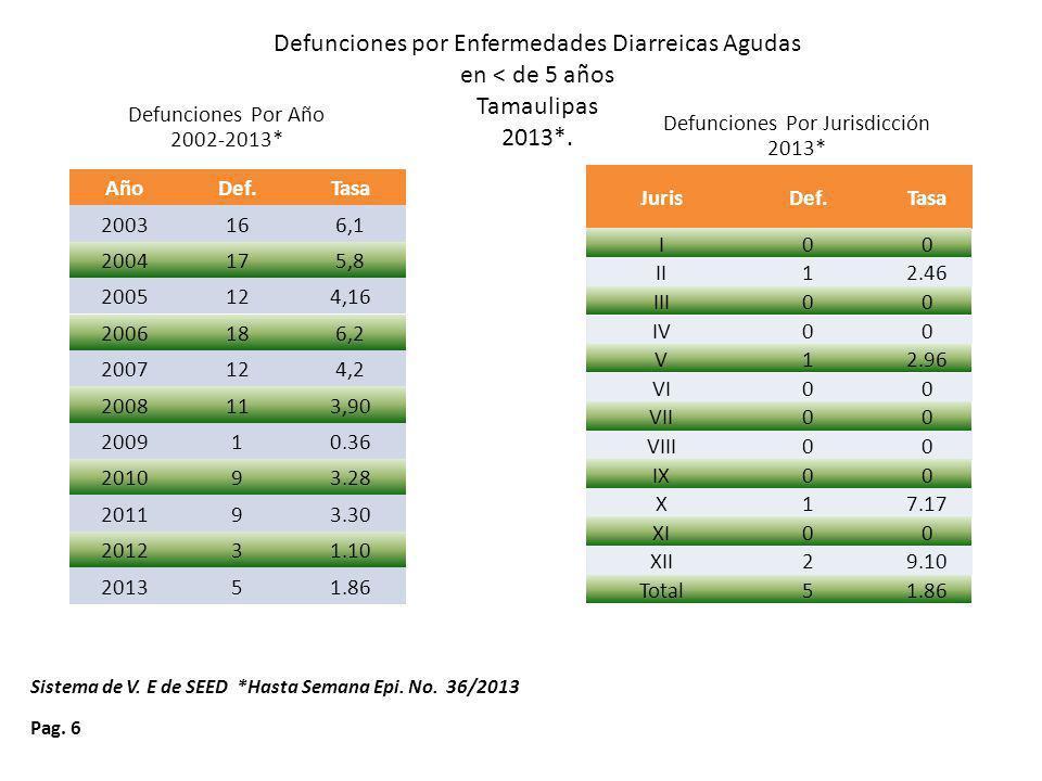 Defunciones por Enfermedades Diarreicas Agudas en < de 5 años Tamaulipas 2013*.