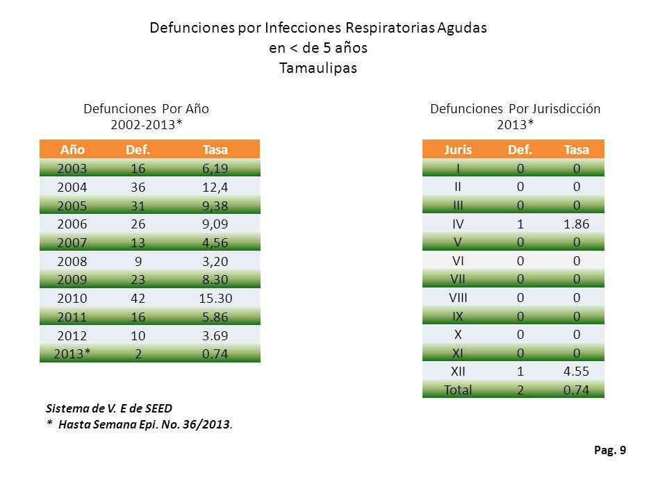 Pag. 9 Defunciones por Infecciones Respiratorias Agudas en < de 5 años Tamaulipas Defunciones Por Año 2002-2013* Defunciones Por Jurisdicción 2013* Si