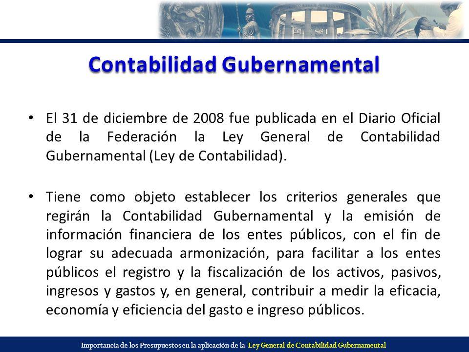 Importancia de los Presupuestos en la aplicación de la Ley General de Contabilidad Gubernamental Contabilidad Gubernamental El 31 de diciembre de 2008