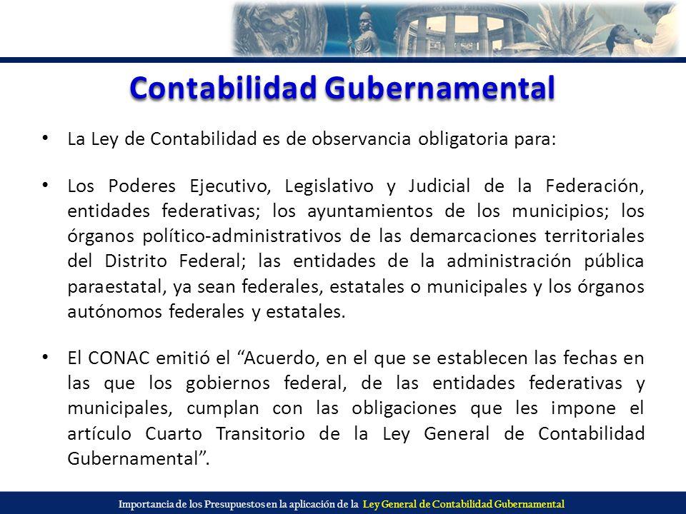Importancia de los Presupuestos en la aplicación de la Ley General de Contabilidad Gubernamental Contabilidad Gubernamental La Ley de Contabilidad es