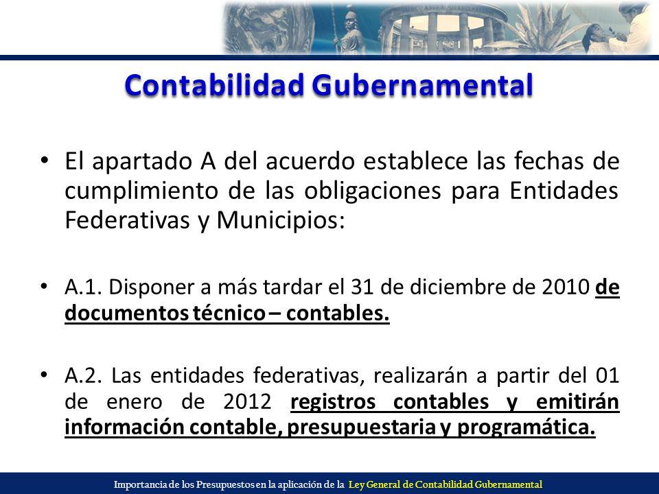 Importancia de los Presupuestos en la aplicación de la Ley General de Contabilidad Gubernamental Contabilidad Gubernamental El apartado A del acuerdo