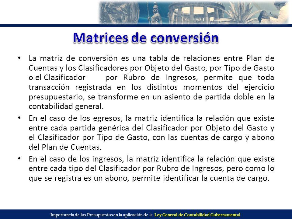 Importancia de los Presupuestos en la aplicación de la Ley General de Contabilidad Gubernamental La matriz de conversión es una tabla de relaciones en
