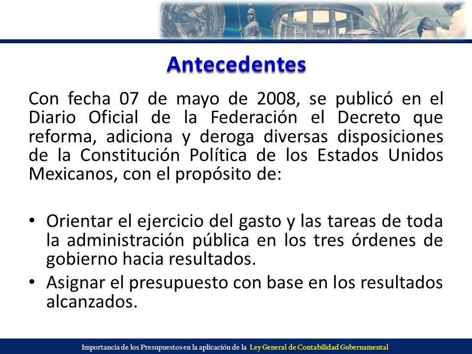 Importancia de los Presupuestos en la aplicación de la Ley General de Contabilidad Gubernamental Antecedentes Fortalecer las facultades de fiscalización de la Cámara de Diputados; reforzando la fiscalización de los recursos en las entidades federativas y en los municipios.