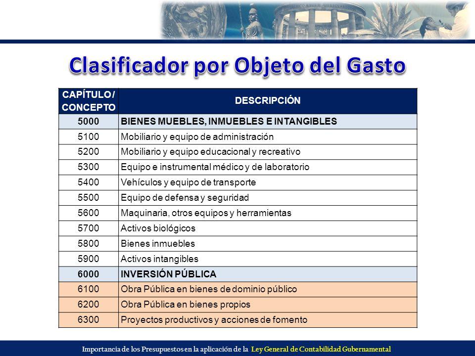 Importancia de los Presupuestos en la aplicación de la Ley General de Contabilidad Gubernamental CAPÍTULO / CONCEPTO DESCRIPCIÓN 5000BIENES MUEBLES, I