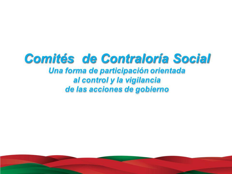 Comités de Contraloría Social Una forma de participación orientada al control y la vigilancia de las acciones de gobierno Comités de Contraloría Socia