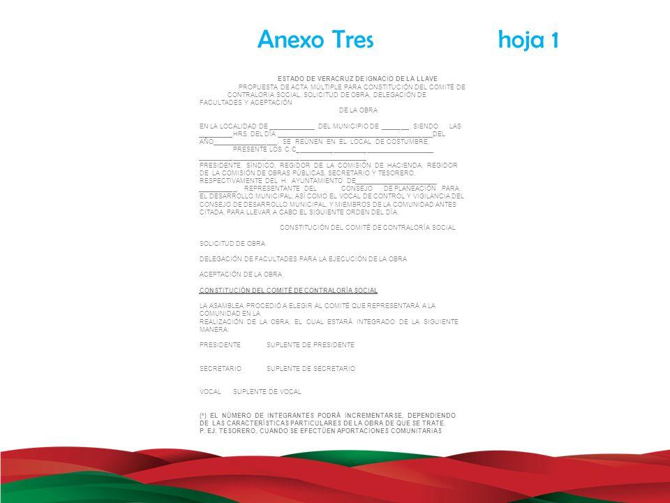 Anexo Tres hoja 1 ESTADO DE VERACRUZ DE IGNACIO DE LA LLAVE PROPUESTA DE ACTA MÚLTIPLE PARA CONSTITUCIÓN DEL COMITÉ DE CONTRALORIA SOCIAL, SOLICITUD D