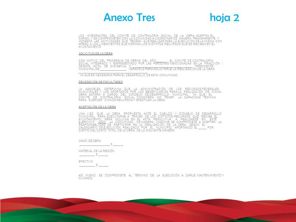Anexo Tres hoja 2 LOS INTEGRANTES DEL COMITÉ DE CONTRALORÍA SOCIAL DE LA OBRA, ACEPTAN EL CARGO, Y SE COMPROMETEN CON LA COMUNIDAD A COORDINAR DE MANE