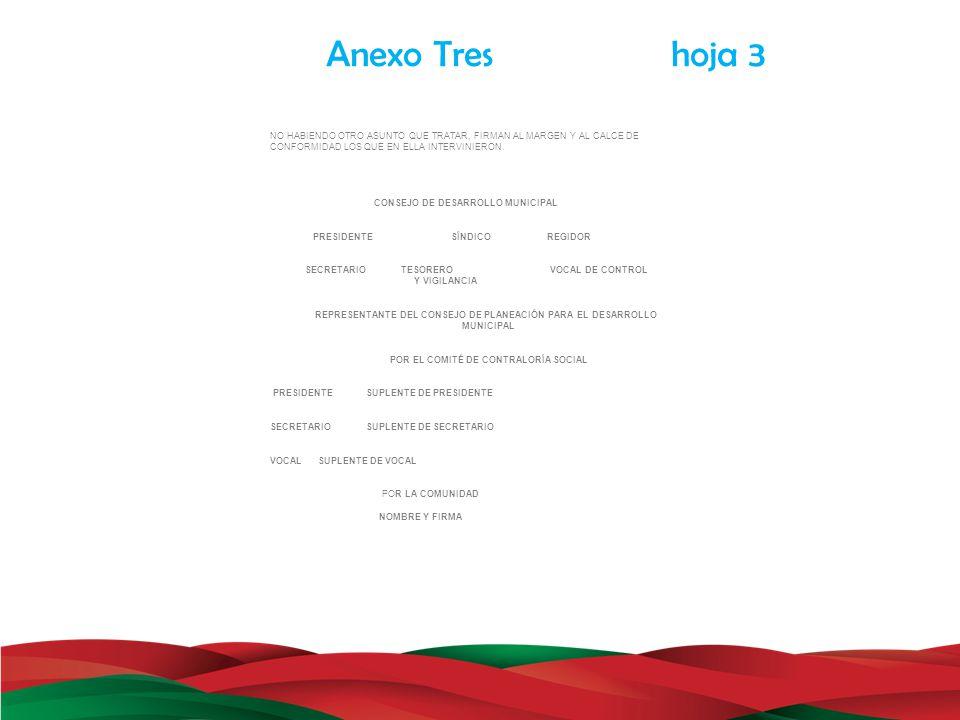 Anexo Tres hoja 3 NO HABIENDO OTRO ASUNTO QUE TRATAR, FIRMAN AL MARGEN Y AL CALCE DE CONFORMIDAD LOS QUE EN ELLA INTERVINIERON. CONSEJO DE DESARROLLO