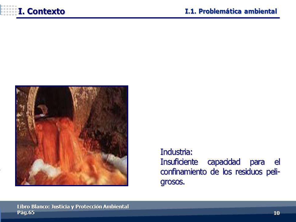 I. Contexto 1010 Industria: Insuficiente capacidad para el confinamiento de los residuos peli- grosos. Libro Blanco: Justicia y Protección Ambiental P