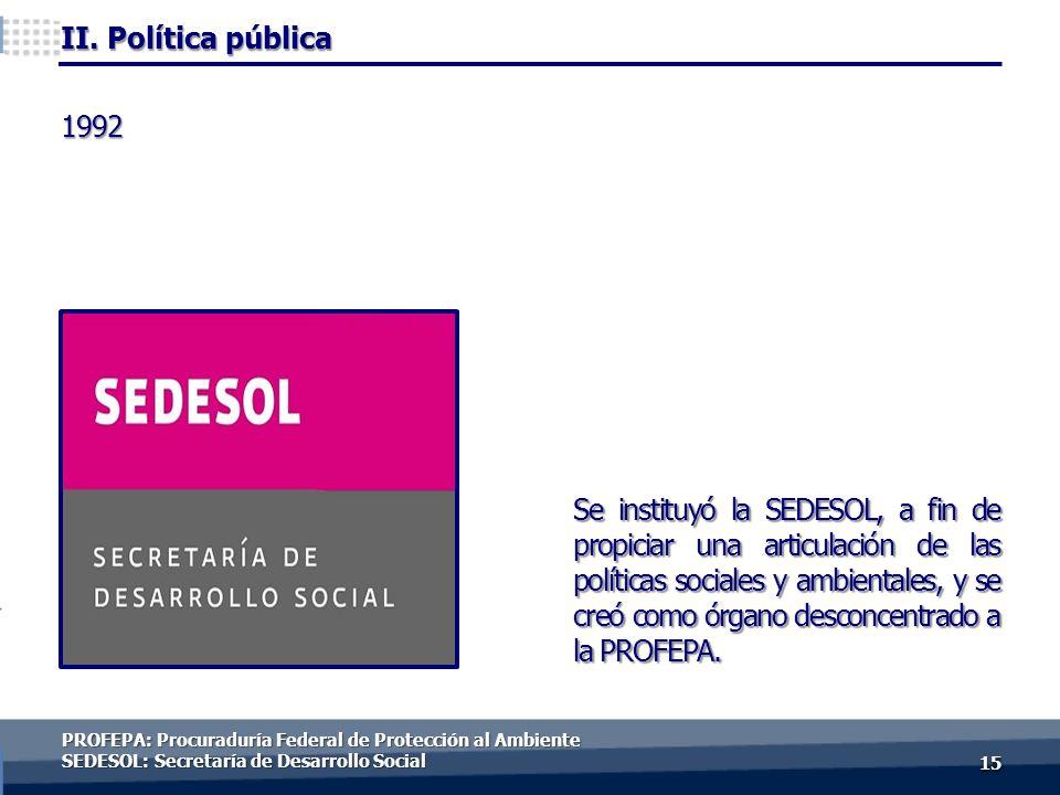 1515 Se instituyó la SEDESOL, a fin de propiciar una articulación de las políticas sociales y ambientales, y se creó como órgano desconcentrado a la PROFEPA.