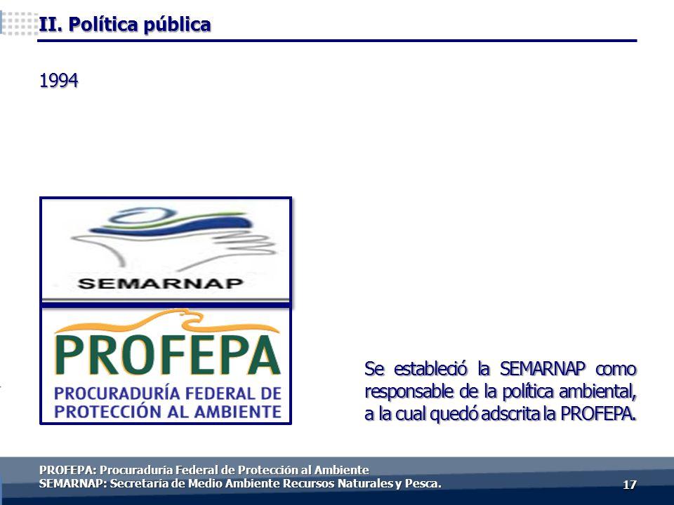 1717 Se estableció la SEMARNAP como responsable de la política ambiental, a la cual quedó adscrita la PROFEPA. 1994 PROFEPA: Procuraduría Federal de P