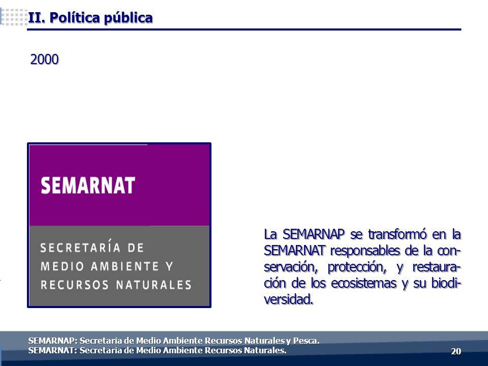 2020 2000 La SEMARNAP se transformó en la SEMARNAT responsables de la con- servación, protección, y restaura- ción de los ecosistemas y su biodi- versidad.