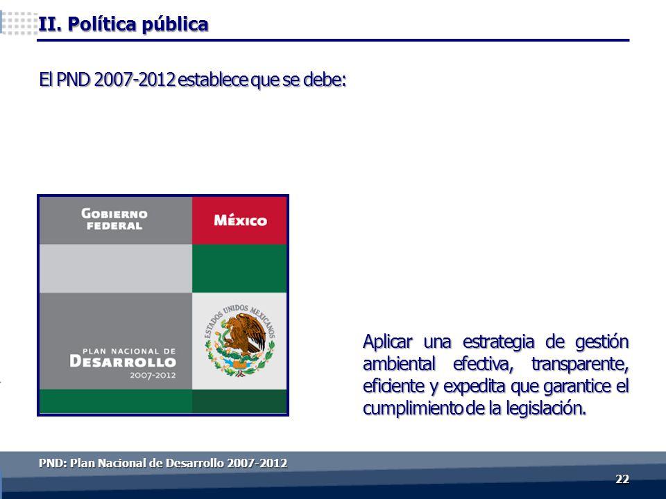 II. Política pública Aplicar una estrategia de gestión ambiental efectiva, transparente, eficiente y expedita que garantice el cumplimiento de la legi
