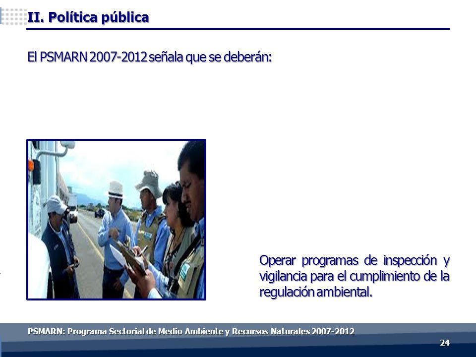II. Política pública 2424 Operar programas de inspección y vigilancia para el cumplimiento de la regulación ambiental. El PSMARN 2007-2012 señala que