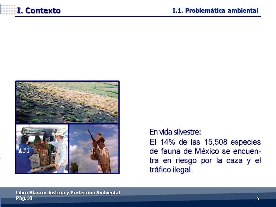 I. Contexto 55 En vida silvestre: El 14% de las 15,508 especies de fauna de México se encuen- tra en riesgo por la caza y el tráfico ilegal. Libro Bla