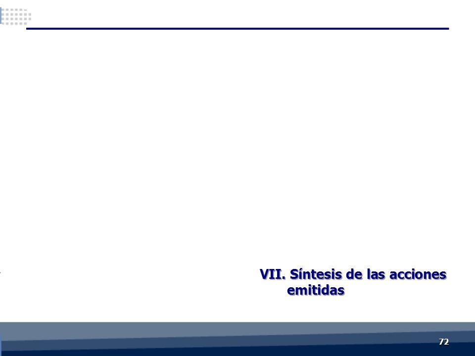 VII. Síntesis de las acciones emitidas 7272
