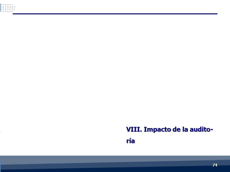VIII. Impacto de la audito- ría 7474