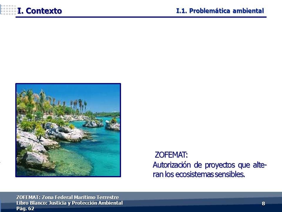 I. Contexto 88 ZOFEMAT: Autorización de proyectos que alte- ran los ecosistemas sensibles.