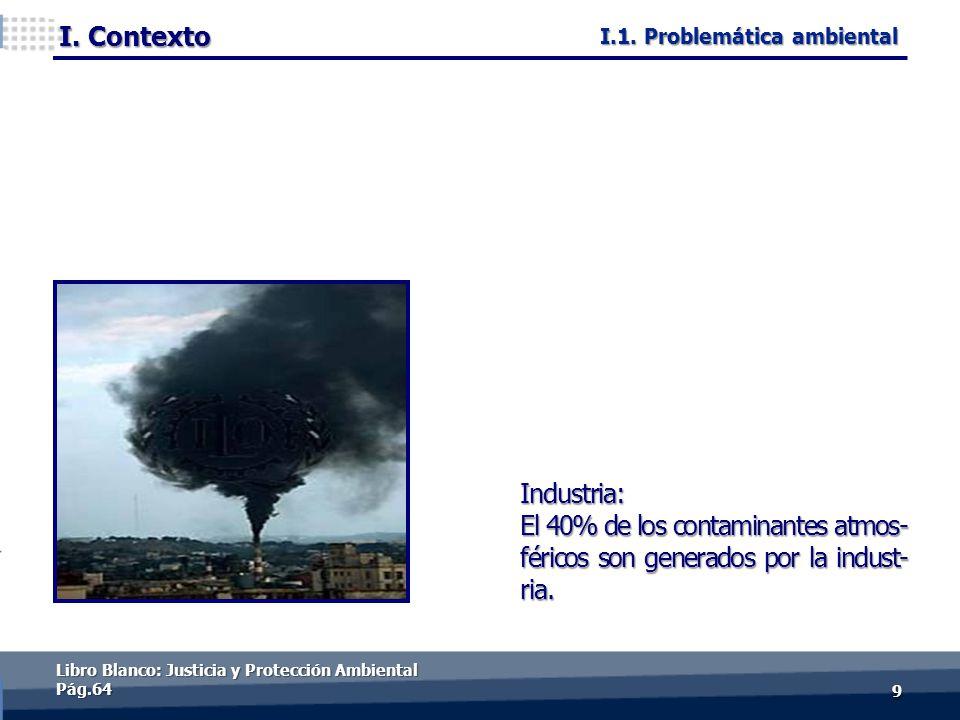 I. Contexto 99 Industria: El 40% de los contaminantes atmos- féricos son generados por la indust- ria. Libro Blanco: Justicia y Protección Ambiental P