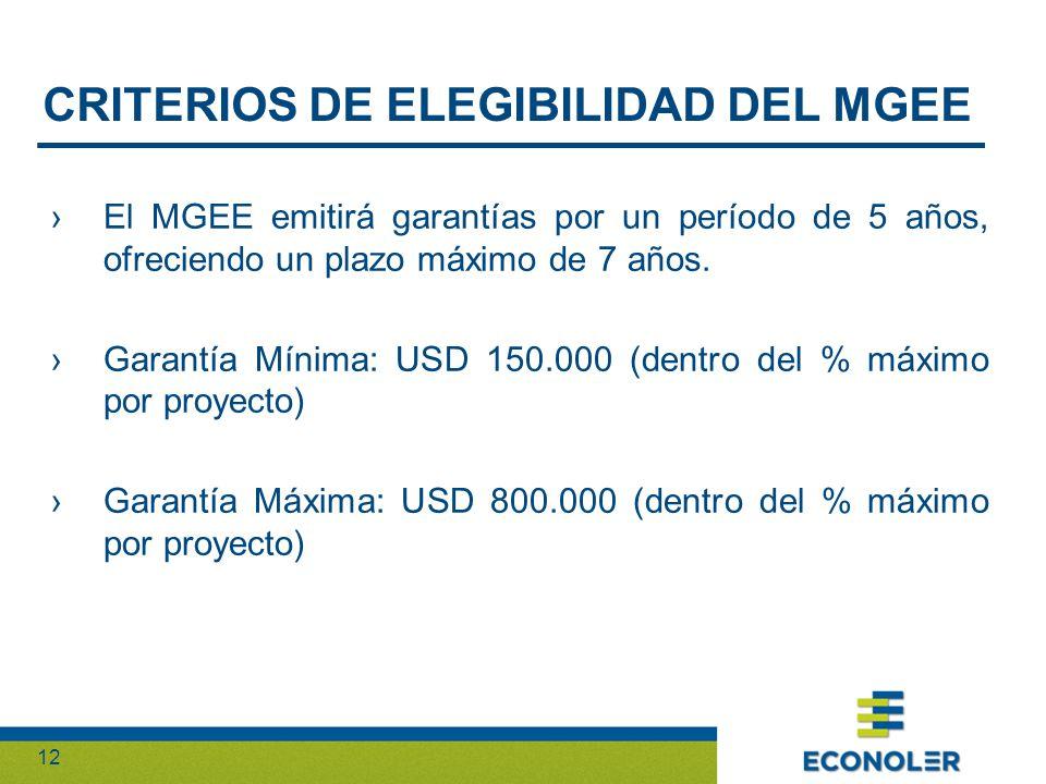 12 El MGEE emitirá garantías por un período de 5 años, ofreciendo un plazo máximo de 7 años.