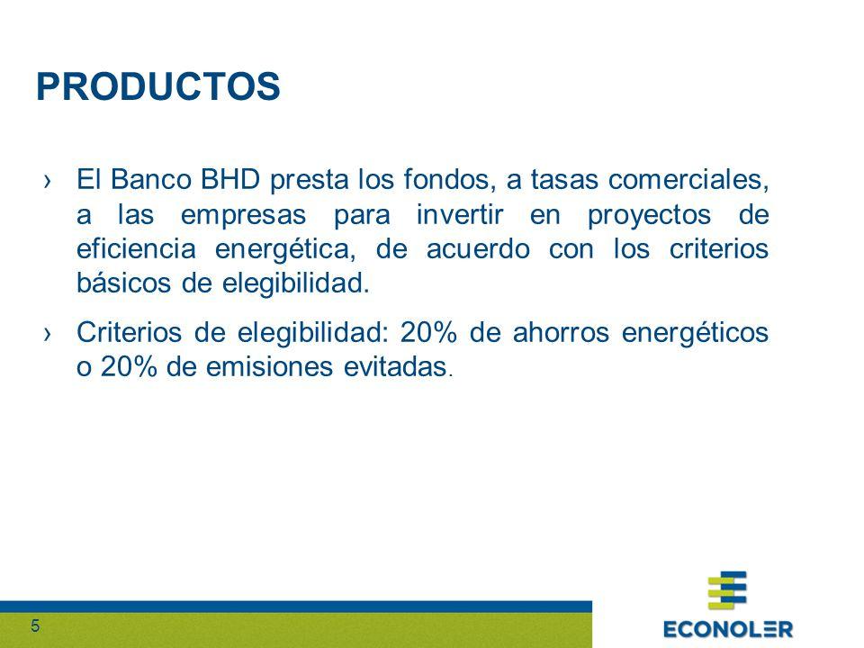 55 El Banco BHD presta los fondos, a tasas comerciales, a las empresas para invertir en proyectos de eficiencia energética, de acuerdo con los criterios básicos de elegibilidad.